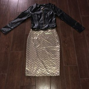 Black Leather jacket & gold & Black pencil skirt